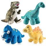 PREXTEX Paquete de 4 Dinosaurios de Peluche 25,4 cm de Largo - Gran Regalo para niños - Surtido de...