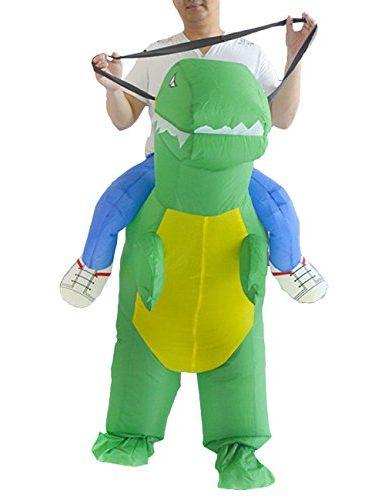 disfraz de dinosaurio cabalgando inflabe