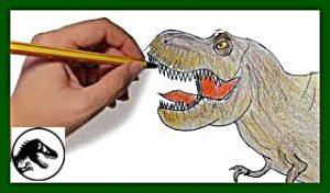 mano con lapicero coloreando dibujo de t-rex