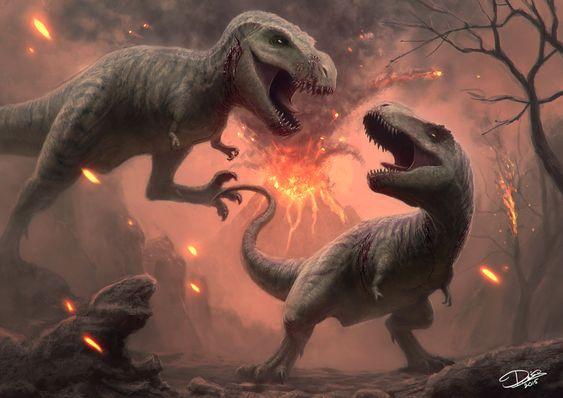 dinosaurios sufriendo erupcion volcanica