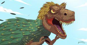 dinosaurio rex con plumas peleando
