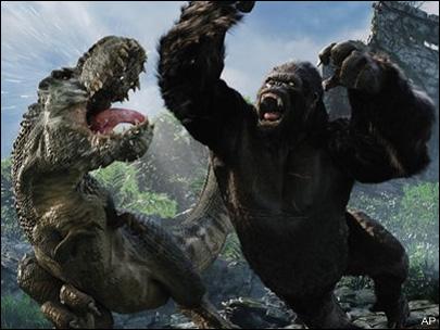 t-rex peleando king-kong