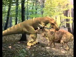 enfrentamiendo de dinosaurio