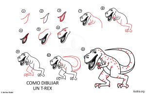 paso a paso dibujo dinosaurio rex
