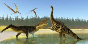 pelea de dinosaurios en el agua