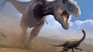 t rex persigue dinosaurio