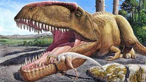 dinosaruio comiendo dino pequeño