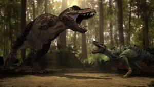dinosaurio gigante contra pequeño