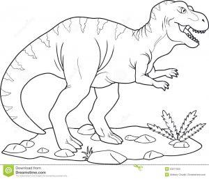 t-rex en su habitat dibujo