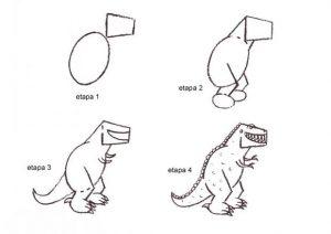 aprende a colorear un dinosaurio rex