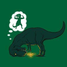 t rex intentando frotar una lampara magica con sus cortos brazos