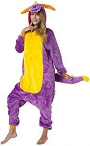 mujer adulta disfrazada de dinosaurio